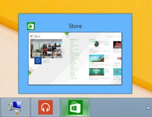 Windows store app showing on the taskbar