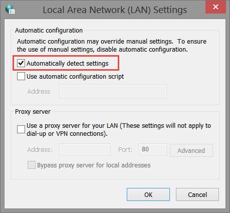 LAN Settings: Automatically Detect