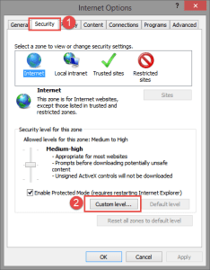 Internet Options: Security