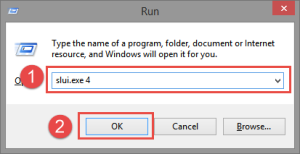 Run: Slui 4 Fix: This Copy of Windows is not genuine genuine