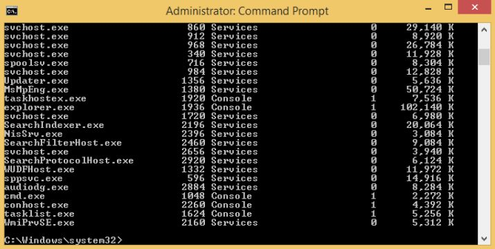 Using CMD to show the tasklist command