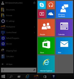 Windows 10 Start Menu Apps