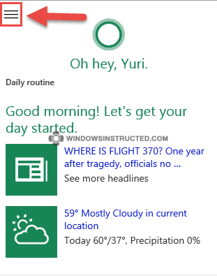 Cortana: Settings