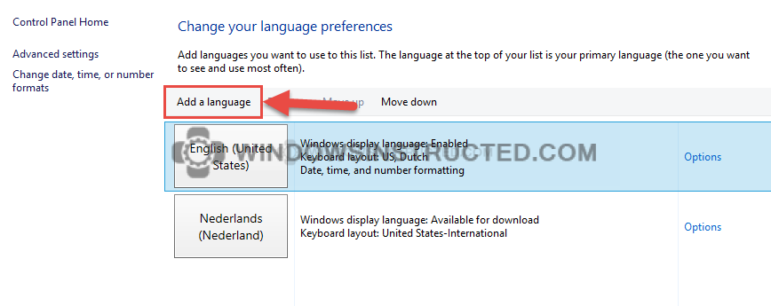 Control Panel: Add a Language How to Change the Language in Windows 10 change the language