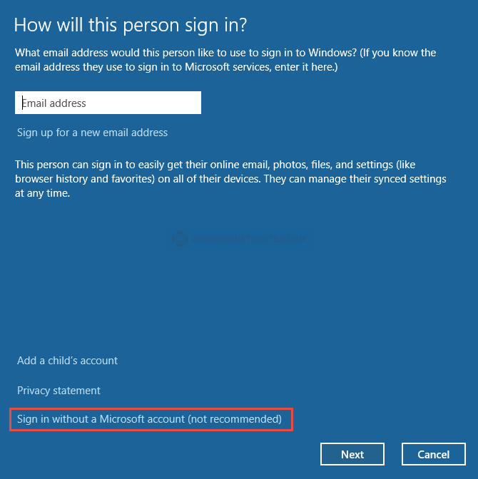 Windows 10: Signin without Microsoft account