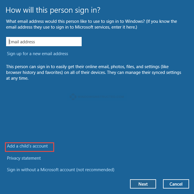 Windows 10: Add a Child's Account