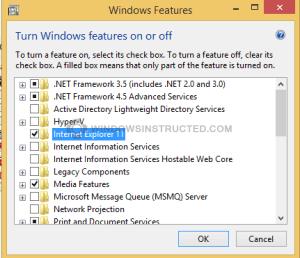 Windows features Internet Explorer