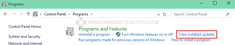 Remove an Windows Update: View Installed Updates