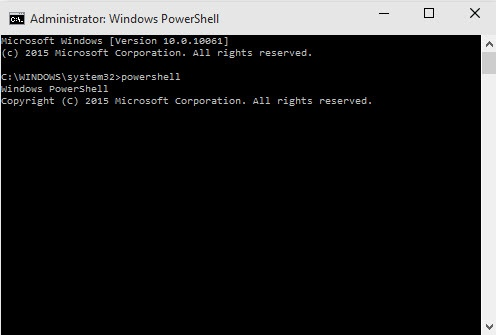 Command Prompt: Start Powershell