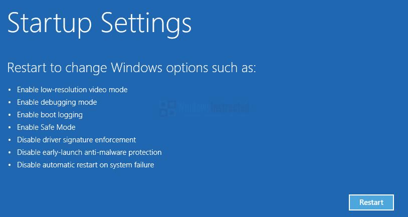 Windows 10: Startup Settings