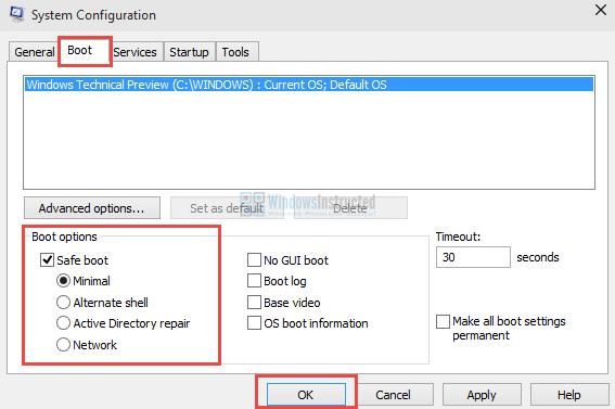 Windows 10 MSConfig: Safe Mode