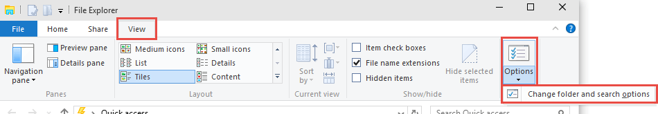 Windows 10: Folder and Search Options