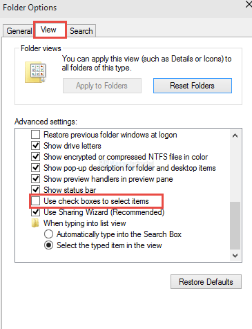 use check boxes to select items