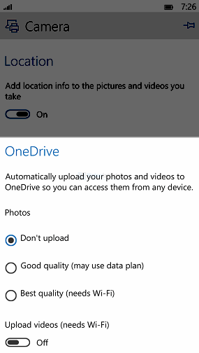 Windows 10 Mobile: OneDrive
