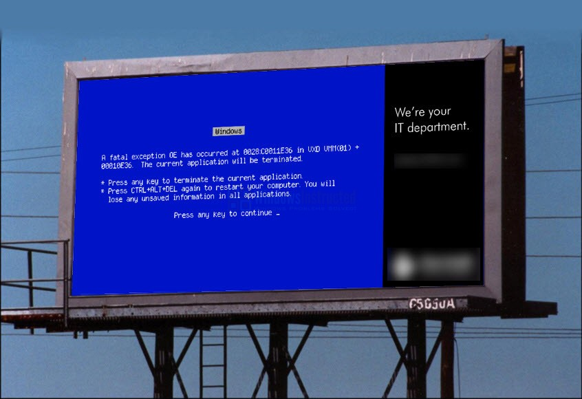 Advertisement BSOD Most Amazing Blue Screens of Death #1 blue screen