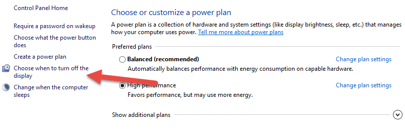 Windows 10 Power Options