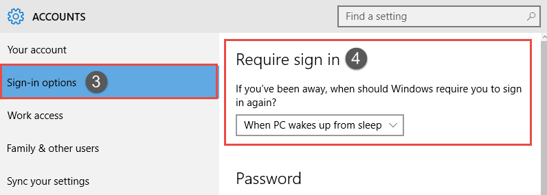Windows 10: Enable or Disable Password Protection on Wakeup