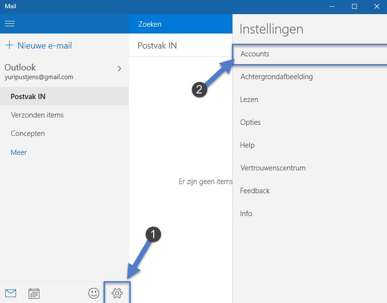 Windows 10: Email Account toevoegen