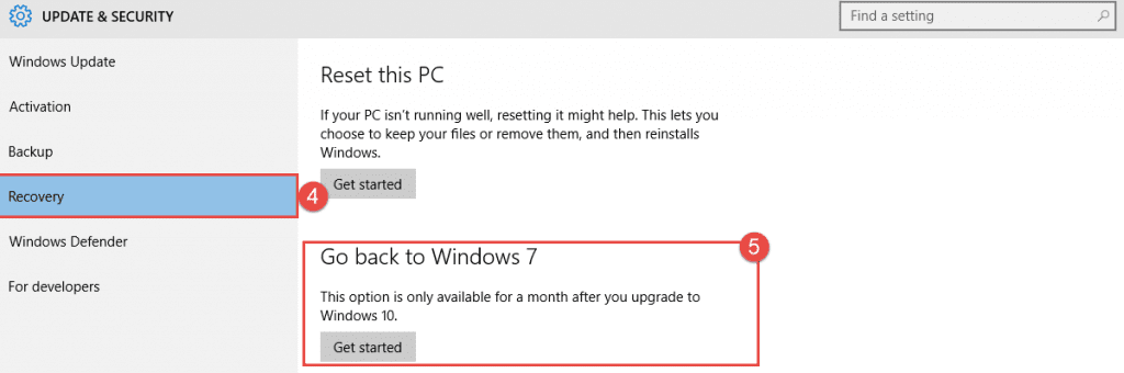 Windows 10: Go Back to your Old Version