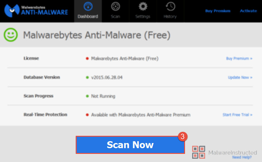 MalwareBytes Scan Now How to Remove Freemediaplayer.tv from your System? - Virus Removal Guide.