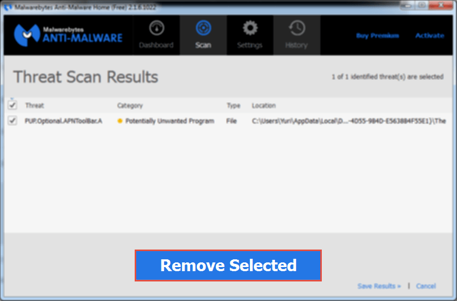 MalwareBytes: Remove Selected