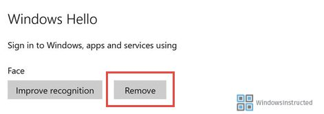 Remove Face Windows 10