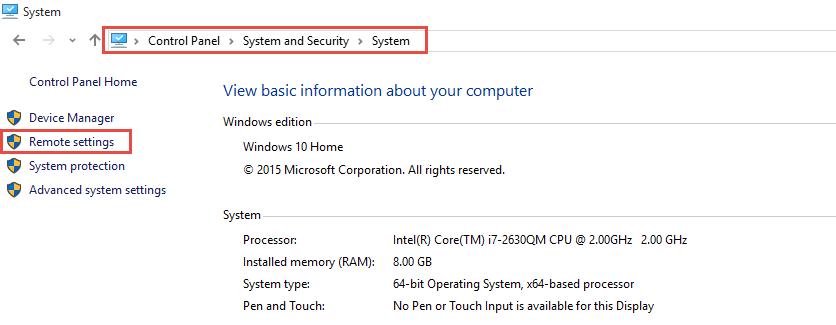 Windows 10 Remote Settings
