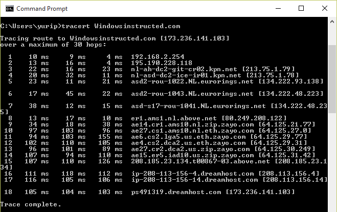 How to Run a Traceroute on Windows: Successful result  How to Run a Traceroute on Windows 10, 8, 7 and Vista run a traceroute