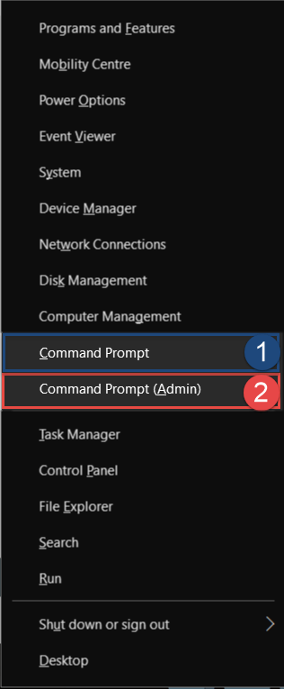 Start Command Prompt from Power Menu