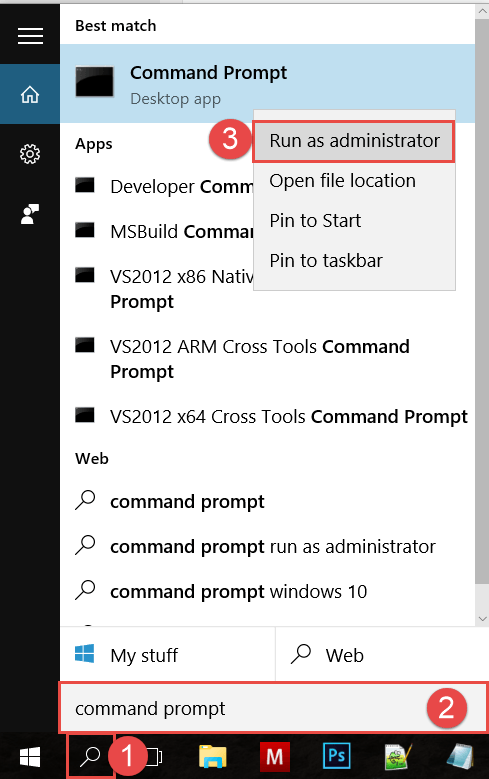 Start Command Prompt using Search