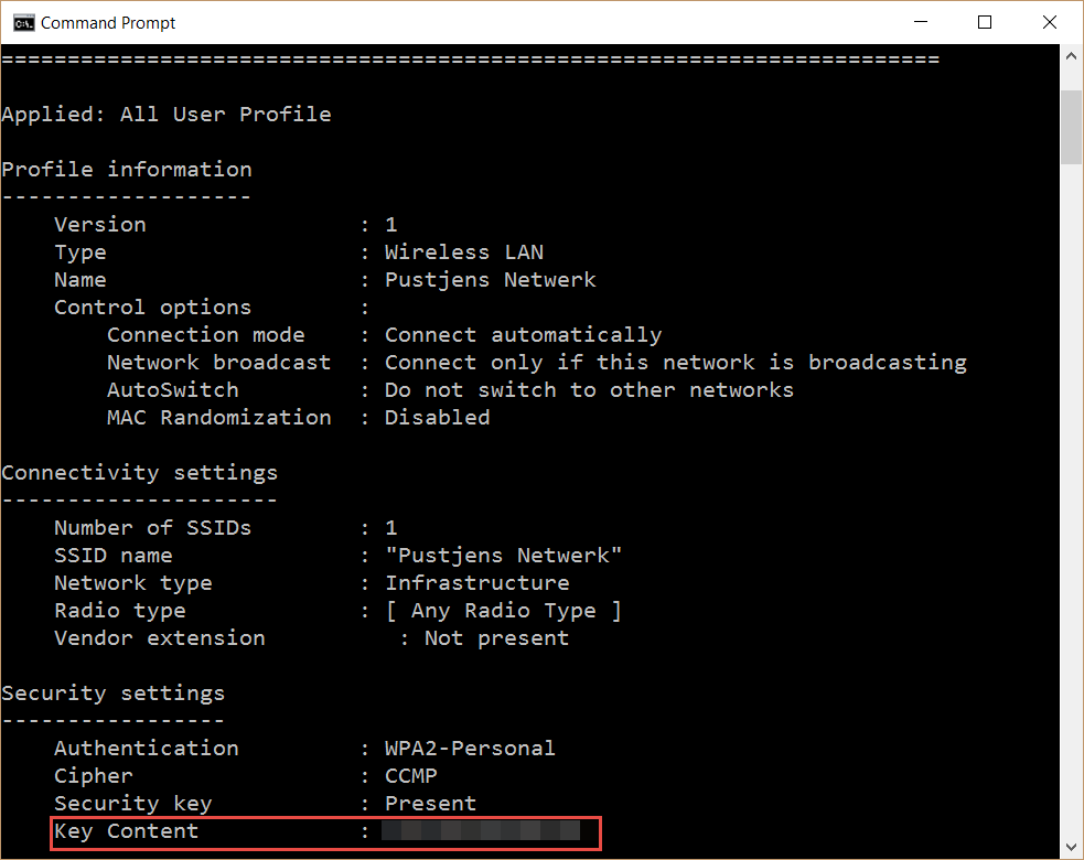 Command Prompt WiFi Passphrase