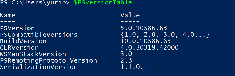 Powershell Version in Windows 10