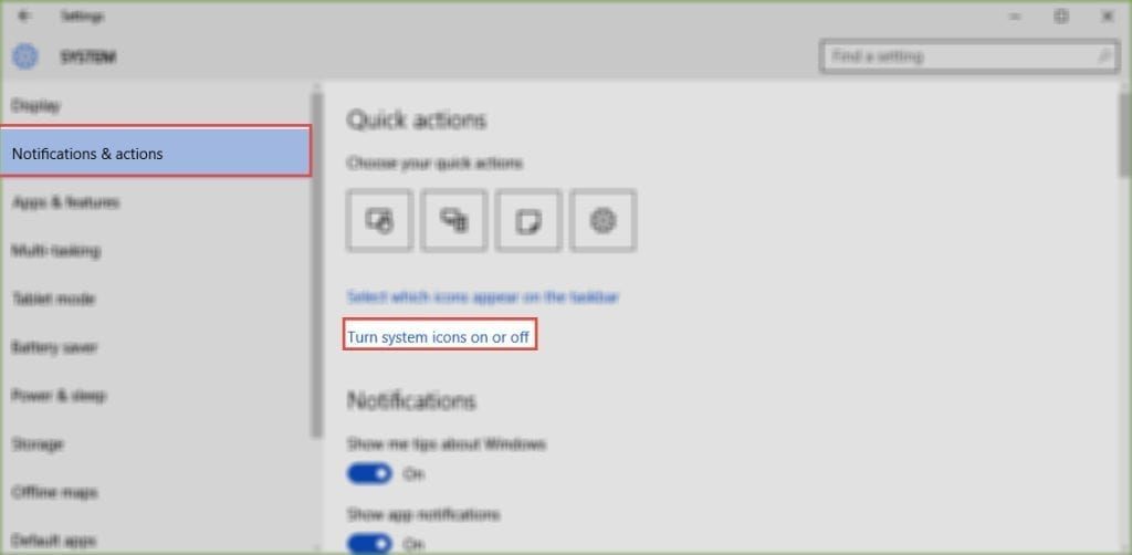 Turn System Icons on and Off