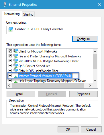 Ethernet Properties Windows 10