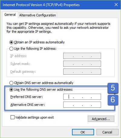 Windows 10: DNS Server Settings