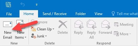 Outlook 2016: Create new Mail