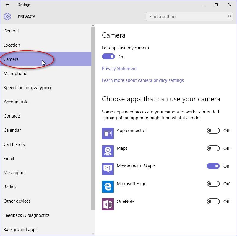 how to change camera settings on windows 10